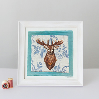Needle Felted Stag, Framed Giclee Print