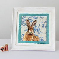 Needle Felted Hare, Framed Giclee Print