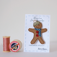 Textile Gingerbread Man Brooch