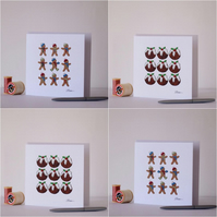 Christmas Pudding and Gingerbread Men Pack of Four Greetings Cards