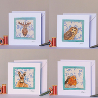 Needle Felted Wildlife, Pack of 4 Greetings Cards