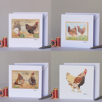 Chickens, Pack of 4 Greetings Cards