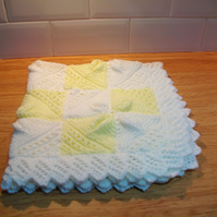 Yellow and White Pram or Car Blanket