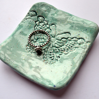 Dainty Mint Butterfly Lace Trinket Dish - Soap, Birthday, Gift, Mum, Jewellery