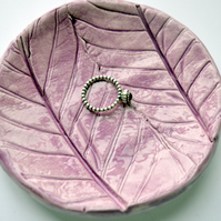 Lilac Leaf Impression Trinket Dish - Soap, Birthday, Gift, Mum, Jewellery