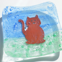 Copper Cat Glass Trinket Dish  - Birthday, Friend, 21st, gift, ring, bedside
