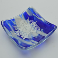Blue Dappled Glass Trinket Dish - Maple Leaf Design - Birthday, Friend, sister