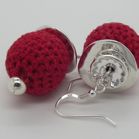 Red Crochet and Silver Earrings