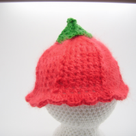 Newborn angora hat, red  hat, flower hat, flower fairy hat.