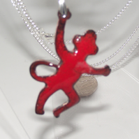 Red Monkey Enamelled Pendant