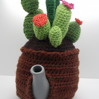 Crochet Cactus Garden Tea Cosy with Tea Pot