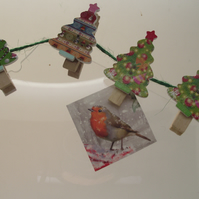 Christmas Card holder with pegs and twine