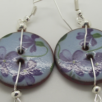 Violet ceramic button and pearl Earrings