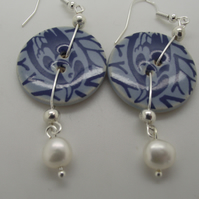 Blue bird ceramic button and freshwater pearl earrings