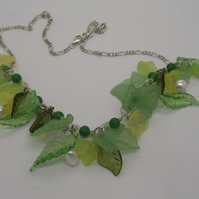 Spring Flower Acrylic , Freshwater Pearl, Jade and Silver Necklace