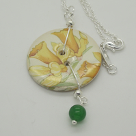 Daffodil Ceramic button and jade bead pendant