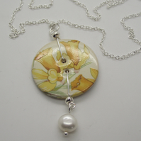 Daffodil Ceramic button and freshwater pearl pendant
