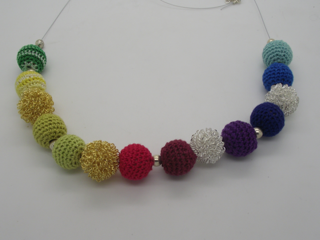 Crochet and metal bead necklace