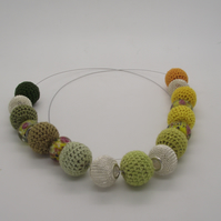 crochet and silver bead necklace with lampwork beads