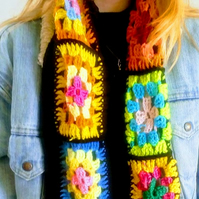 Bright Crocheted Granny Squares Scarf