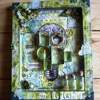 'Powered By The Light' Mixed Media Altered Canvas