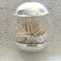 Real Starfish Necklace Hand Blown Glass Globe - STARFISH - Nautical
