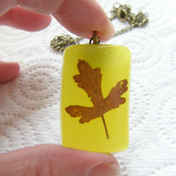 Real Leaf Pendant - FALLING LEAVES - Autumn Fall Necklace