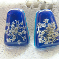 Real Lace Flower Earrings in Royal Blue Resin - White Lace