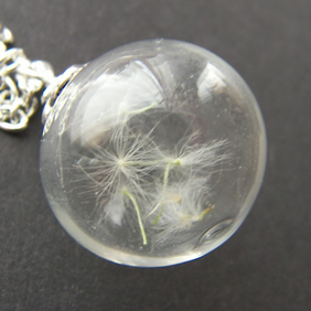 Real Dandelion Seeds Glass Globe Necklace - MAKE A WISH