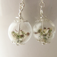 Lucky White Heather Earrings - Real Flower - Bridal Wedding Bridesmaid