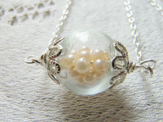 Glass Globe Hand Blown Necklace Pearl Whimsical Bridal Jewellery - BEAUTIFUL