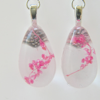 Pink Real Flower Earrings