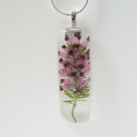 Scottish Purple Heather Flower Pendant - Wearable Art - HEATHER