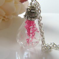 Real Flower Botanical Necklace Hand Blown Tear drop - PRETTY IN PINK