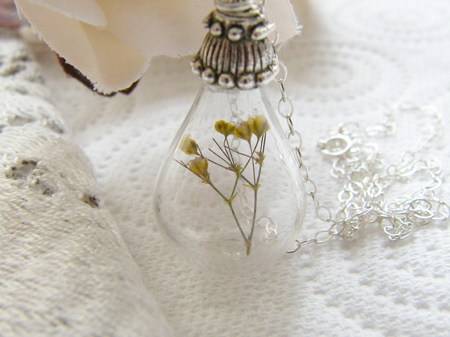 Real Flower Botanical Necklace Hand Blown Tear drop - SUNSHINE