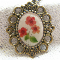 Poppy Real Flower Cameo Necklace Pendant - Poppy