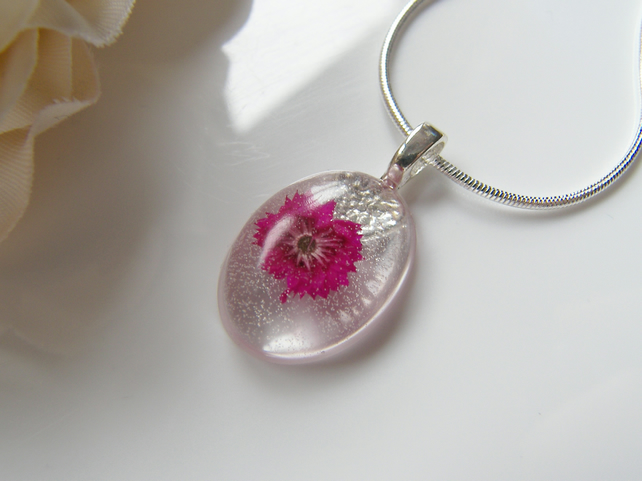Dainty Pink Pressed Flower Necklace - Wearable Art - PRETTY IN PINK