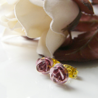 Dainty Pink Rose Earrings - PRETTY IN PINK