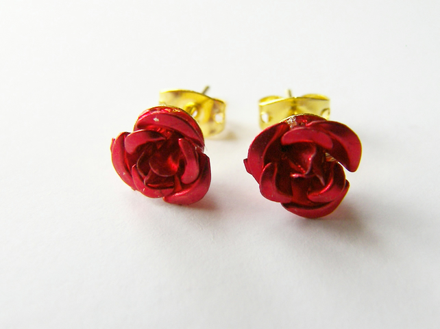 Dainty Red Rose Earrings - Red Stud Earrings