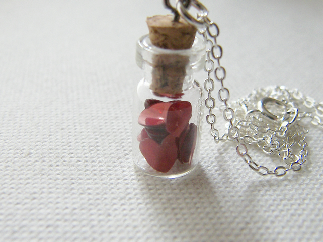 Valentines Jar of Hearts Charm Necklace  - LOVE YOU
