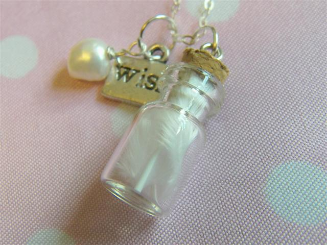 Glass Vial with Marabou Feather Necklace - Guardian Angel