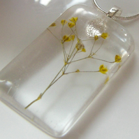 Real Gypsophila Flower Necklace in Resin Summer Nature - SUNSHINE