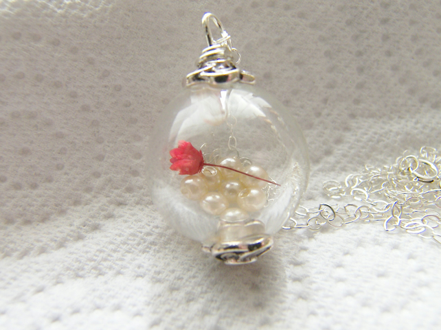 Valentines Red Rose Botanics Necklace Handblown Glass Globe Bridal Jewelry
