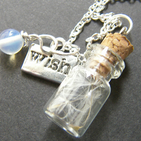 Glass Vial with Dandelion Seeds Charm Necklace - Make a Wish