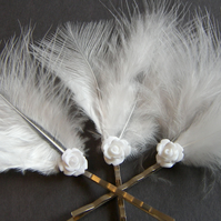 White Marabou Feather Bobby Pin Set - Bridal Wedding