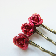 Valentines Red Rose Hair Bobby Pin Set - Bridal Wedding - ROSES ARE RED