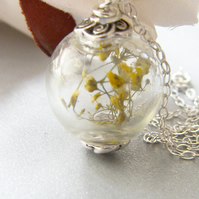 Real Flower Botanical Necklace Handblown Glass Globe - Sunshine - Bridal Jewelry