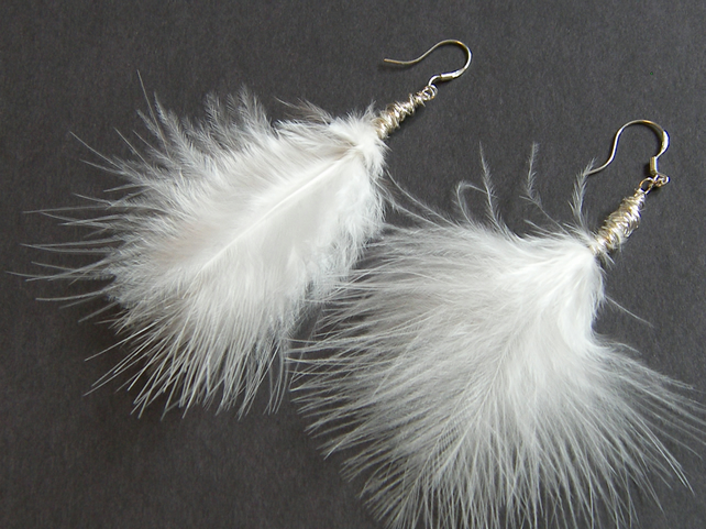 White Marabou Feathers Earrings - MARABOU FEATHERS