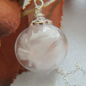 Hand blown Glass Globe Necklace with Marabou Feathers - ANGEL - Bridal Jewelry