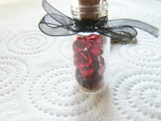 Jar of Red Roses Glass Vial Bottle Necklace - ROSES ARE RED